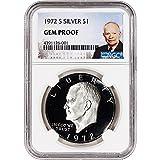 1972 S US Eisenhower Silver Dollar Proof Ike Large Label $1 Gem Proof NGC