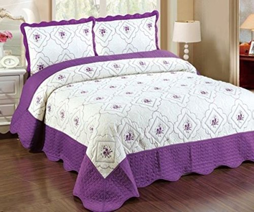 3 Piece Embroidery Floral Pattern Quilt Coverlet Sets Queen King (Queen, Purple) (Quilt Queen Purple compare prices)