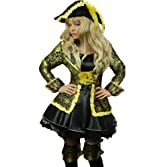 Yummy Bee Pirate Costume Womens Fancy Dress SWORD Hat Musketeer Plus Size 6-20 (Women: 14-16)