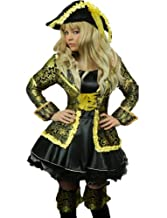 Yummy Bee Deluxe Pirate Costume Ladies Fancy Dress + SWORD + Hat Musketeer Plus Size 6-18 Black & Gold Dress Coat Hat Boot Toppers (Women: 14-16)