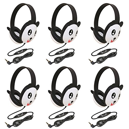 Califone 2810-Pa Listening First Stereo Headphone, Panda Motif - Pack Of 6
