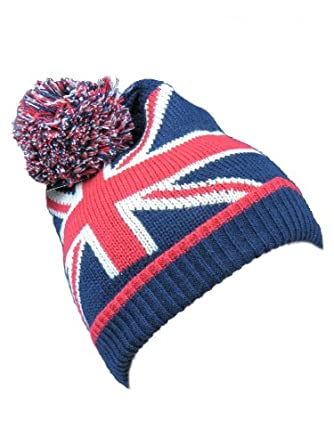 Womens Hats Mens Woolly Hats Bobble Hat Union Jack Flag Knitted London Souven...