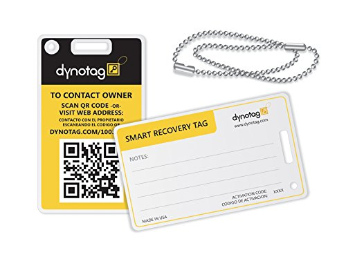 Dynotag® Web/Gps Enabled Qr Smart Fashion Luggage Tags - 2 Identical Tags+Chains (Bumblebee)