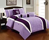 7 Pieces Luxury Embroidered Purple, White and Lavender Comforter Set / Bed-in-a-bag Queen Size Bedding