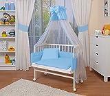 WALDIN Baby Beistellbett komplett mit Ausstattung, weiß lackiert, 6 Farben wählbar,blau/weiß