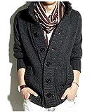 (オナーファション) Honour Fashionメンズニットカーディガン スタンドニットジャケット 4color ダークグレー L
