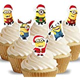 Cakeshop 12 x PRE-CUT Despicable Me Minions Christmas Xmas Stand Up Edible Cake Toppers - Premium Wafer Paper