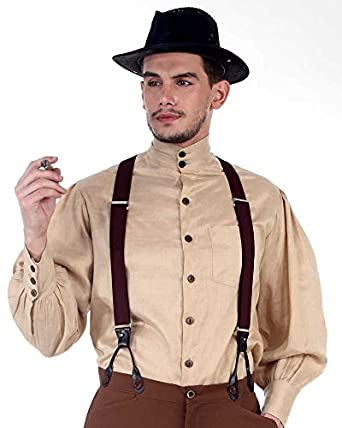 Victorian Men's Clothing Steampunk Victorian Costume Seigneur Shirt $49.50 AT vintagedancer.com