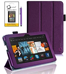 """New Amazon Kindle Fire HDX 7 inch 7"""" 2013 (ALL Model Versions - 16GB, 32GB & 64GB Wi-Fi + 4G LTE) PURPLE Multi-Function Leather SMART FOLIO Front & Back Case / Smart Cover / Typing & Viewing Stand / Premium SLIM Flip Case With Magnetic Sleep Sensor & Screen Protector Shield Guard & Amazon Kindle Fire HDX Tablet Purple Stylus Pen Accessory Accessories Pack by InventCase®"""