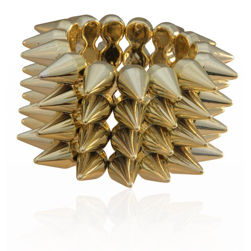 MizEllie Flash Gold Gothic Spiked Bangle Bracelet