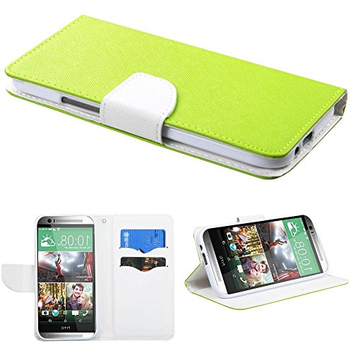 Mylife (Tm) Lime Green + Bright White {Modern Design} Faux Leather (Card, Cash And Id Holder + Magnetic Closing) Slim Wallet For The All-New Htc One M8 Android Smartphone - Aka, 2Nd Gen Htc One (External Textured Synthetic Leather With Magnetic Clip + Int