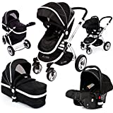 i-Safe System - Black Trio Travel System Pram & Luxury Stroller 3 in 1 Complete With Car Seat
