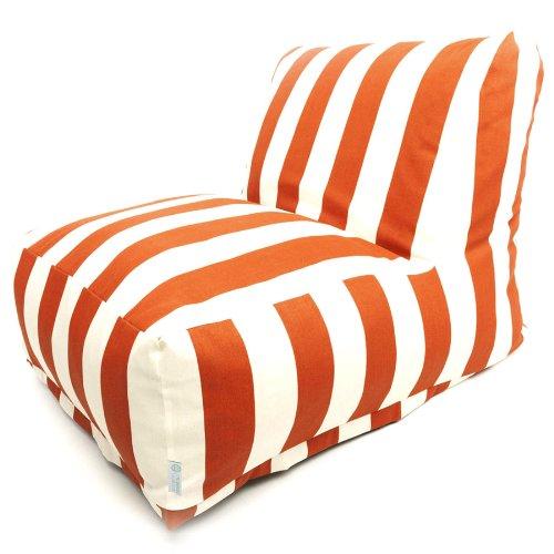 Majestic Home Goods Burnt Orange Vertical Strip Bean Bag Chair Lounger front-615828