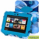 "Kindle Fire Hd 7"" Cover Case New Hot Item High Quality Slim Fit Silicone Plastic Dual Protective Back Cover Standing Case Kid Proof Case for Amazon Kindle Fire Hd 7 Inch(will Only Fit Kindle Fire Hd 7""previous Generation )-Multiple Color Options (Camo Blue/Blue)"
