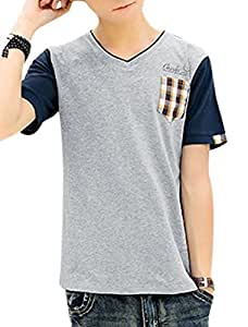 Man Plaids Detail V Neck Short Sleeves Pullover Casual T-shirts