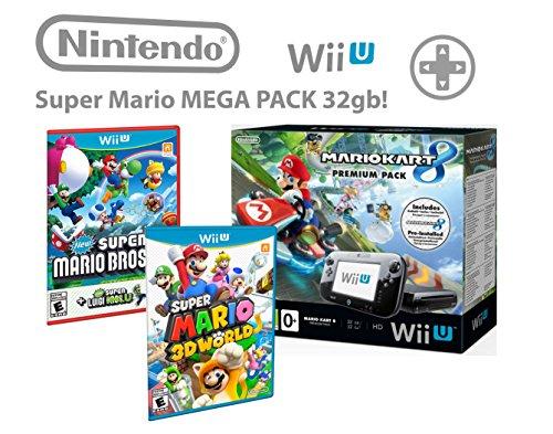 Nintendo Wii U Premium Pack 32GB + Mario Kart 8 + Super Mario 3D World + Super Mario & Luigi U - Super pack 4 giochi !
