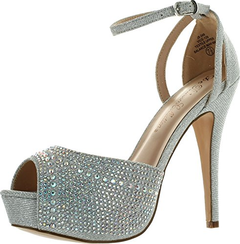 Blossom Womens Vice-126 Bridal Formal Evening Party Ankle Strap High Heel Peep Toe Glitter Sandal,Silver,8.5