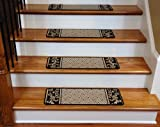 Dean Washable Non Skid Carpet Stair Treads - Black and Beige Scroll Border