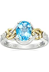 Sterling Silver and 14k Yellow Gold Diamond and Swiss Blue Topaz Love Knot Ring