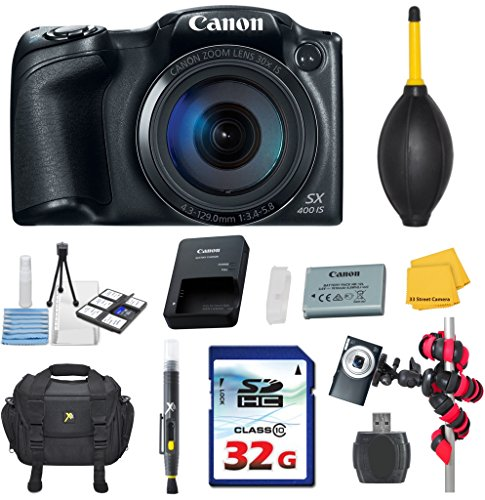 Canon PowerShot SX400 Digital Camera 30x Optical Zoom Bundle with Commander 32GB High Speed Memory Card + High Speed Memory Card Reader + Deluxe Camera Case + Spider Tripod + Commander Starter Kit