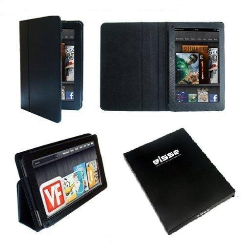 Elsse Bait Folio Case for Kindle Fire 7 inch Tablet Cover-up - Black (Not Compatible with Kindle Fire HD)