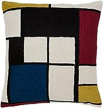 Zaida Housse de coussin 45 x 45 cm Coussin en laine et coton Motif ambiance Mondrian