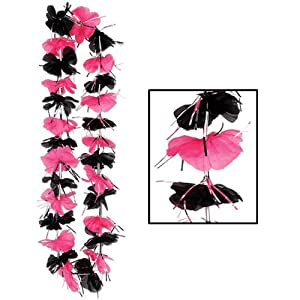 Beistle 50387 12-Pack Party Lei, 36-Inch, Pink/Black