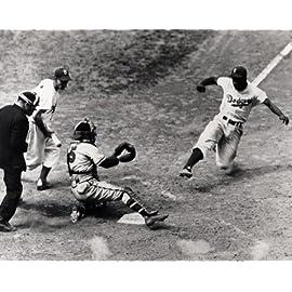 MLB Brooklyn Dodgers Jackie Robinson Sliding for Home 8x10 Photo