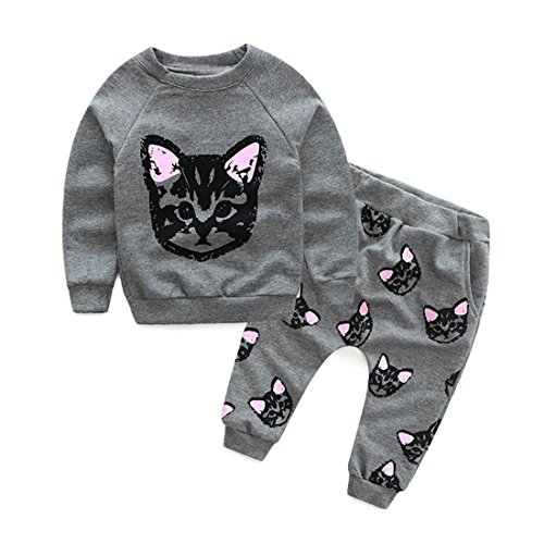 HANYI Baby Kids Set Cats Print Tracksuit +Pants Outfits Set (2T, gray)
