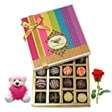 Colorful Treat To Your Love With Teddy And Rose - Chocholik Belgium Chocolates
