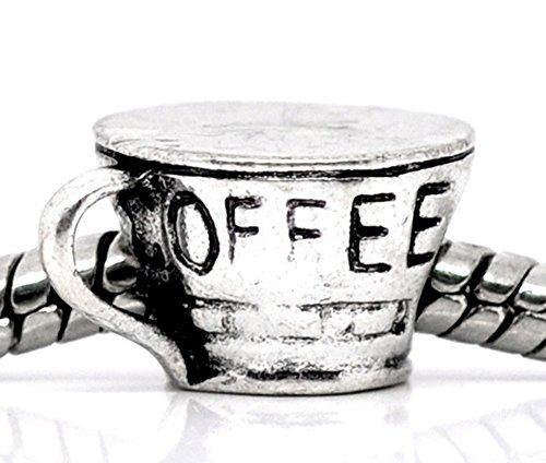 European Antique Silver Coffee Cup Bead Charm Spacer Bead