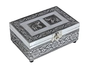 Impressive Aluminium Decorative Trinket Jewellery Box (15.24 X 10.16 X 6.35) Cm With Elephant Design on Lid