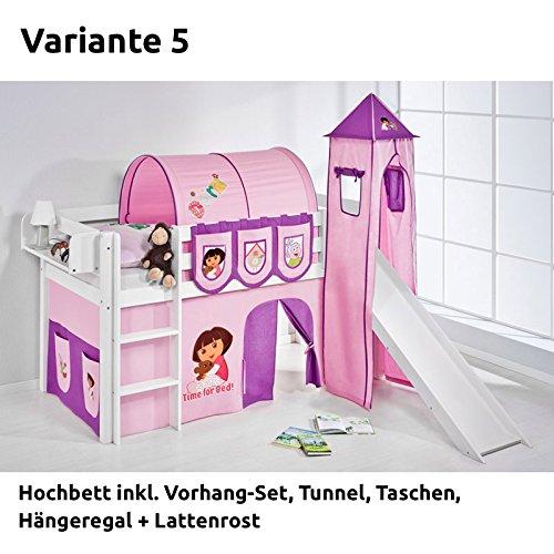 Hochbett Spielbett JELLE Dora the Explorer mit Turm, Rutsche und Vorhang, weiß, Variante 5 kaufen