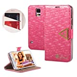 Moon Monkey High Quality Crystal Fashion Bling Magnet Adsorption Case for Samsung Galaxy S5 I9600 with Wallet and Stand Function (Rose)