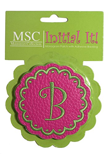 "Msc Letter ""B"" Monogram Patch With Adhesive Backing - Pink front-514875"