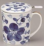 茶こし付マグカップ古染花 おひとり様カフェをゆっくり楽しめる