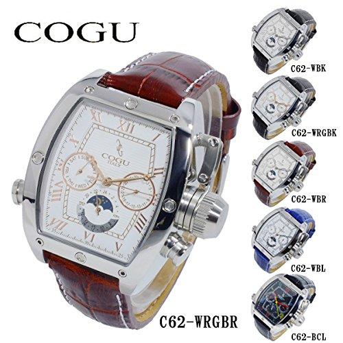 コグ COGU 自動巻き メンズ 腕時計 C62-WRGBR ホワイト-ローズゴールド/ブラウン [並行輸入品]