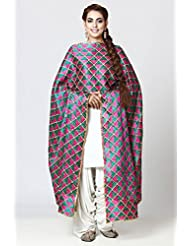 Chic Cotton Phulkari Bagh Dupatta With Pink & Turquoise Green Diamond Hand Embroidery