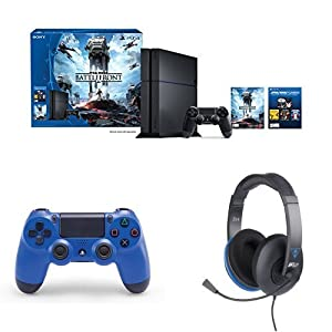 PlayStation 4 500GB Console - Star Wars Battlefront Bundle with DualShock 4 Controller (Wave Blue) and Turtle Beach Ear Force P12 Headset
