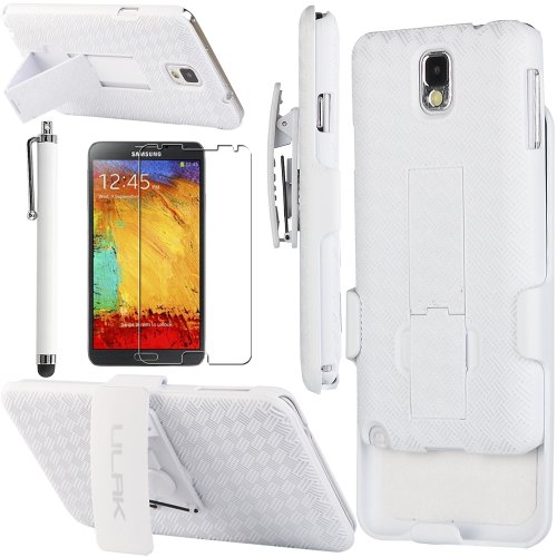 Pandamimi ULAK(TM) Rugged Hybrid Hard Case Cover and Belt Clip Holster for Samsung Galaxy Note III 3 with Screen Protector and Stylus (White)