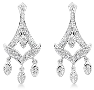 Carissima 9ct White Gold 0.11ct Diamond Chandelier Drop Earrings