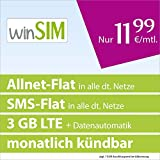 winSIM LTE All 3 GB [SIM, Micro-SIM und Nano-SIM] monatlich kündbar (3 GB LTE-Internet mit max. 50 MBit/s + Datenautomatik, Telefonie-Flat, SMS-Flat, 11,99 Euro/Monat) O2-Netz