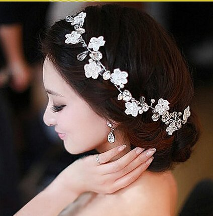Crystal Diamond Bride Bridal Wedding Hair Head Band Wear Pearl Rhinestone Jewelry Headdress Headband Tiara Coronal Chain
