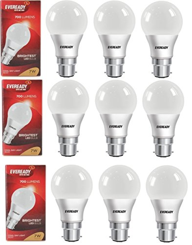 7W Cool Day Light 700 Lumens LED Bulb (Pack of 9)