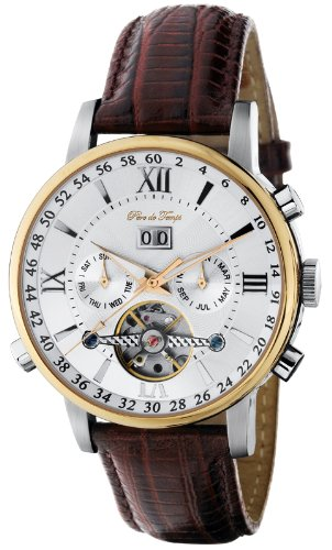 Pere de Temps Unisex 3028 Debut Neapolitan Automatic Mechanical WatchTwo-Tone Stainless Steel with Gold Overlay and Exhibition Dial