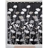 InterDesign Daizy Shower Curtain, Black and Gray, 72-Inch by 72-Inch
