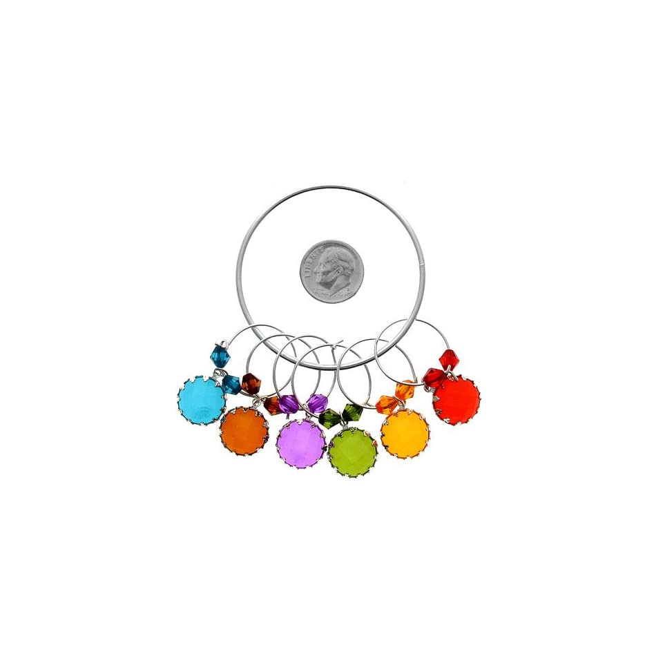 Wine Charms ~ Round Crystals Wine Glass Charms Set of 6