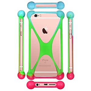 Casotec Universal Silicone Bumper Frame Soft Gel Phone Case Cover for Lyf Earth 1 - Multicolor