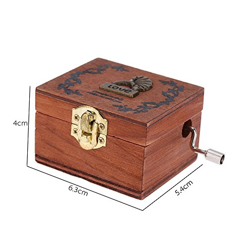 Exquisite Hand Crank Musical Box Retro Vintage Wooden Music Box 4 Different Patterns for Option Beautiful Decorative Patterns 7