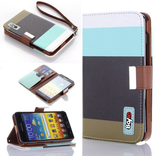 Bayke Brand / Samsung Galaxy Note I9220 Gt-N7000 I717 Fashion Designer Colorful Pu Leather Wallet Case With Strap With Stand With Magnetic Clip Credit Card Slots & Holder (Sky Blue+Black+Olivedrab)